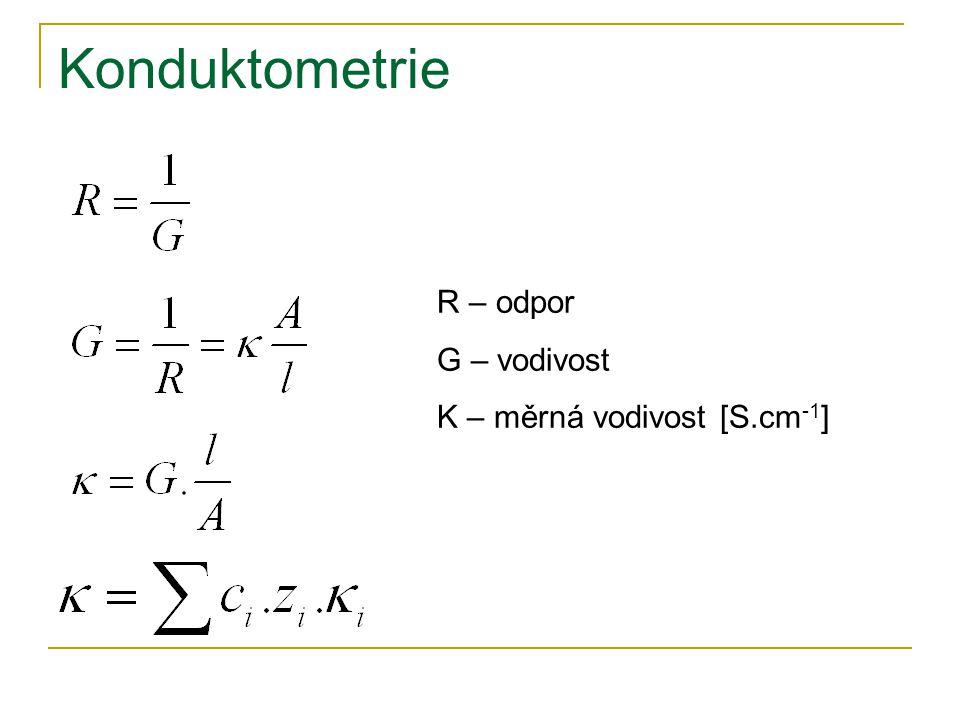 Konduktometrie R – odpor G – vodivost Κ – měrná vodivost [S.cm -1 ]