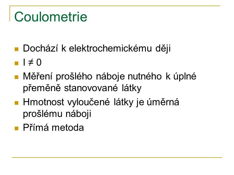 Coulometrie Dochází k elektrochemickému ději I ≠ 0 Měření prošlého náboje nutného k úplné přeměně stanovované látky Hmotnost vyloučené látky je úměrná prošlému náboji Přímá metoda