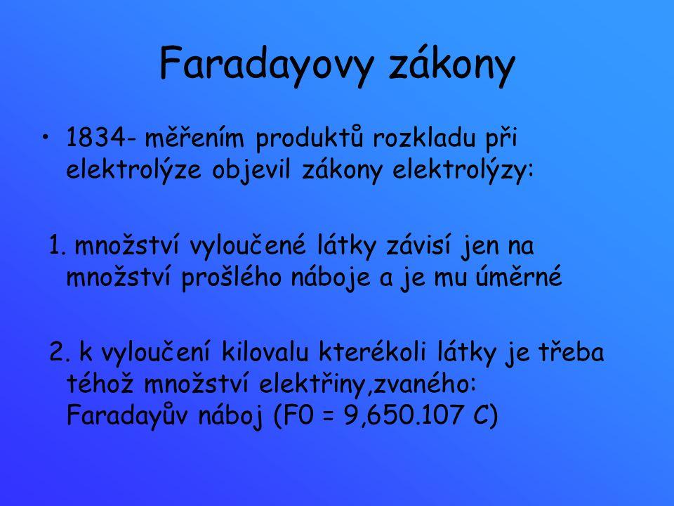 Faradayovy zákony 1834- měřením produktů rozkladu při elektrolýze objevil zákony elektrolýzy: 1. množství vyloučené látky závisí jen na množství prošl