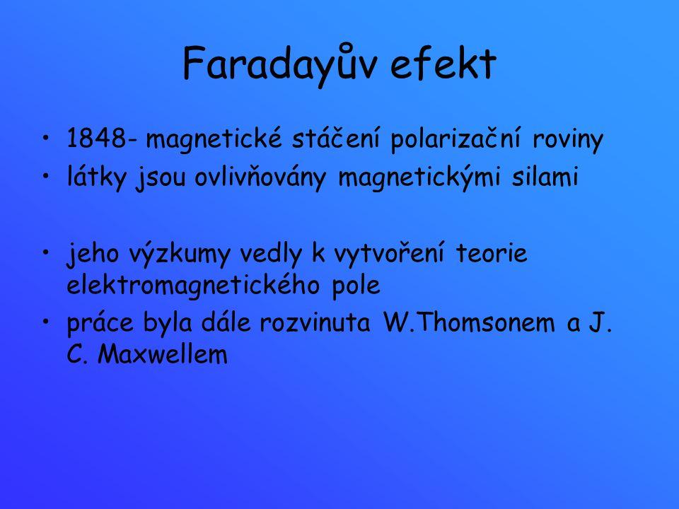 Faradayův efekt 1848- magnetické stáčení polarizační roviny látky jsou ovlivňovány magnetickými silami jeho výzkumy vedly k vytvoření teorie elektroma