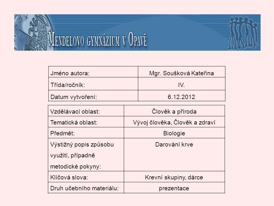 zdroje 1) Daruj krev ještě dnes.- Transfuzní oddělení, Fakultní nemocnice Olomouc, 2008, leták.