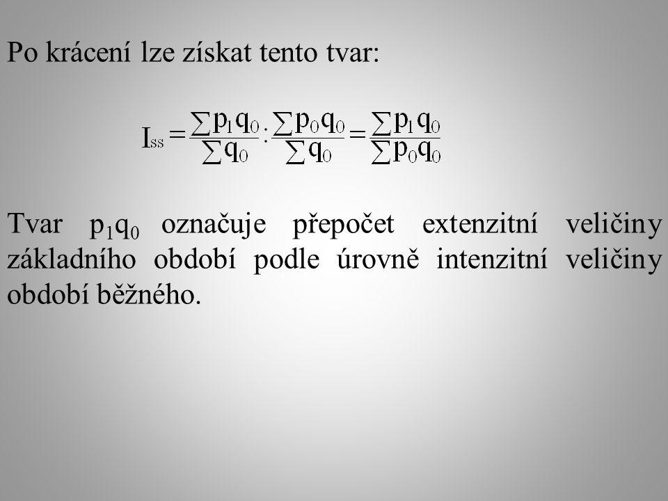 Po krácení lze získat tento tvar: Tvar p 1 q 0 označuje přepočet extenzitní veličiny základního období podle úrovně intenzitní veličiny období běžného.