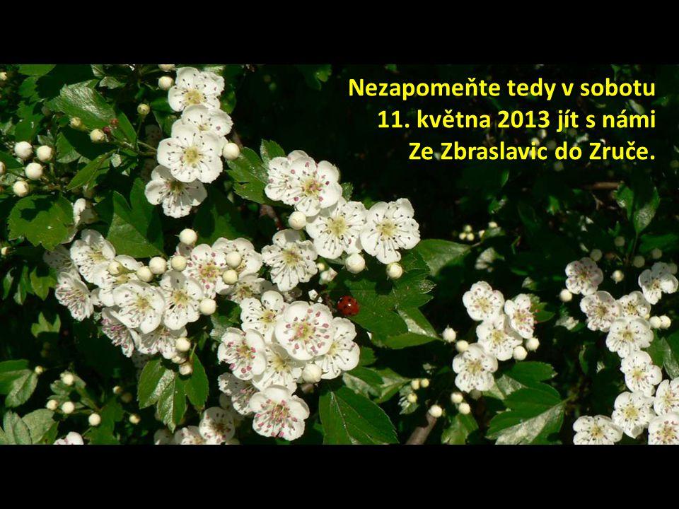 Nezapomeňte tedy v sobotu 11. května 2013 jít s námi Ze Zbraslavic do Zruče.