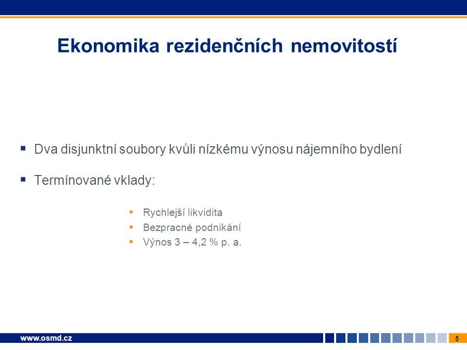5 www.osmd.cz Ekonomika rezidenčních nemovitostí  Dva disjunktní soubory kvůli nízkému výnosu nájemního bydlení  Termínované vklady:  Rychlejší likvidita  Bezpracné podnikání  Výnos 3 – 4,2 % p.