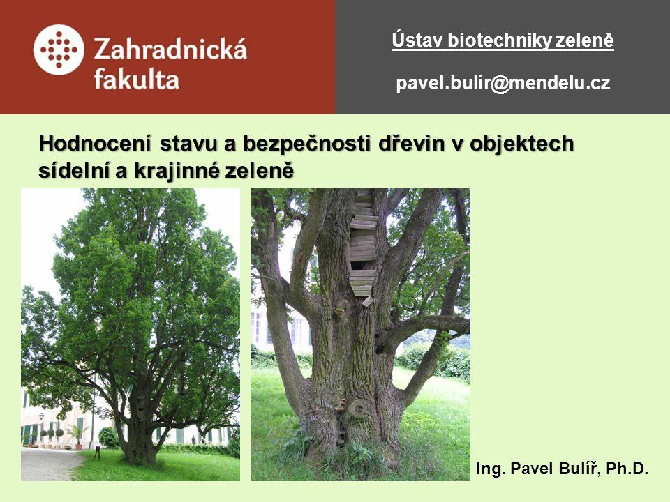 Ústav biotechniky zeleně pavel.bulir@mendelu.cz Hodnocení stavu a bezpečnosti dřevin v objektech sídelní a krajinné zeleně Ing. Pavel Bulíř, Ph.D.