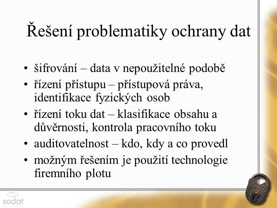 Řešení problematiky ochrany dat šifrování – data v nepoužitelné podobě řízení přístupu – přístupová práva, identifikace fyzických osob řízení toku dat – klasifikace obsahu a důvěrnosti, kontrola pracovního toku auditovatelnost – kdo, kdy a co provedl možným řešením je použití technologie firemního plotu