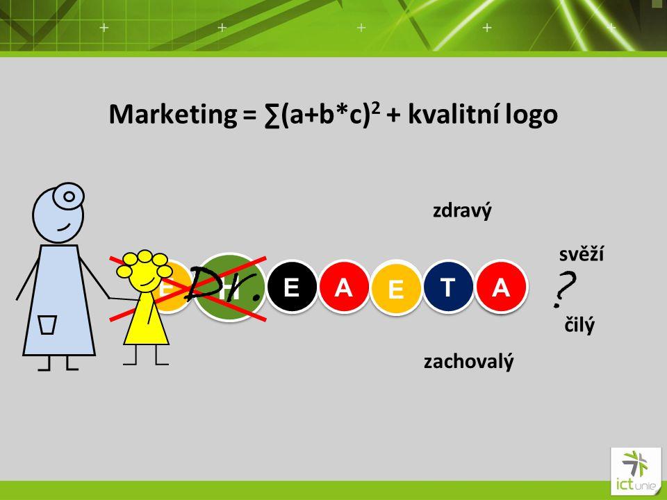 Marketing = ∑(a+b*c) 2 + kvalitní logo E E H H E E A A L L T T H H zdravý Dr.