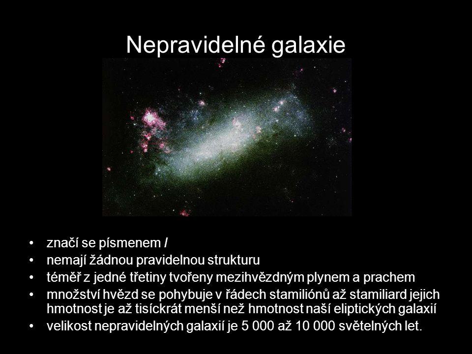 Nepravidelné galaxie značí se písmenem I nemají žádnou pravidelnou strukturu téměř z jedné třetiny tvořeny mezihvězdným plynem a prachem množství hvěz