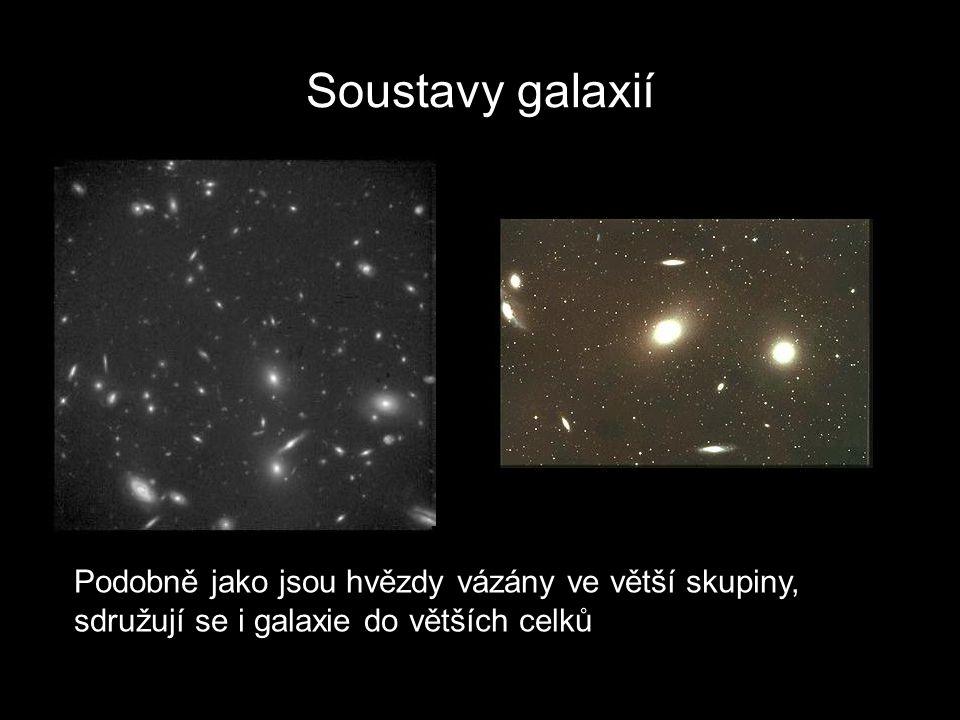 Soustavy galaxií Podobně jako jsou hvězdy vázány ve větší skupiny, sdružují se i galaxie do větších celků