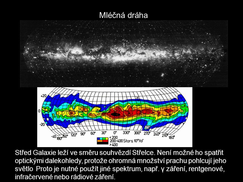 Mléčná dráha Střed Galaxie leží ve směru souhvězdí Střelce. Není možné ho spatřit optickými dalekohledy, protože ohromná množství prachu pohlcují jeho