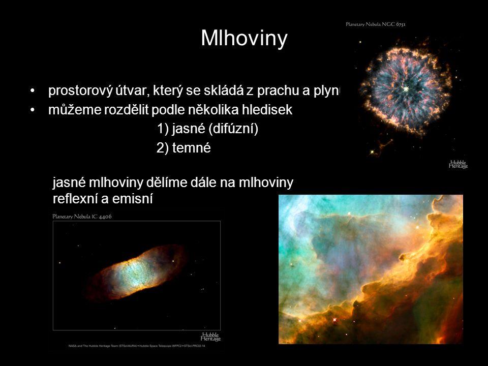 Mlhoviny prostorový útvar, který se skládá z prachu a plynu můžeme rozdělit podle několika hledisek 1) jasné (difúzní) 2) temné jasné mlhoviny dělíme
