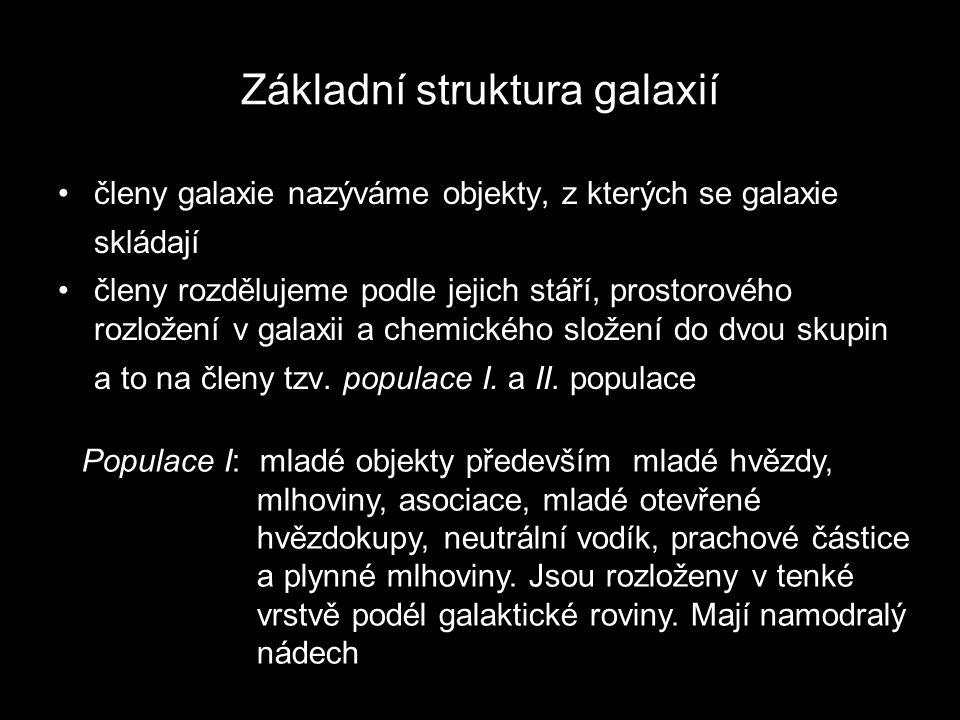 Základní struktura galaxií členy galaxie nazýváme objekty, z kterých se galaxie skládají členy rozdělujeme podle jejich stáří, prostorového rozložení