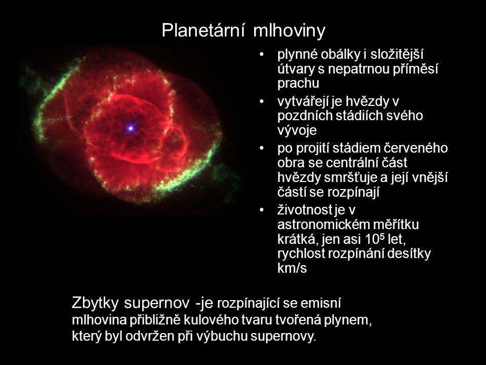 Planetární mlhoviny plynné obálky i složitější útvary s nepatrnou příměsí prachu vytvářejí je hvězdy v pozdních stádiích svého vývoje po projití stádi