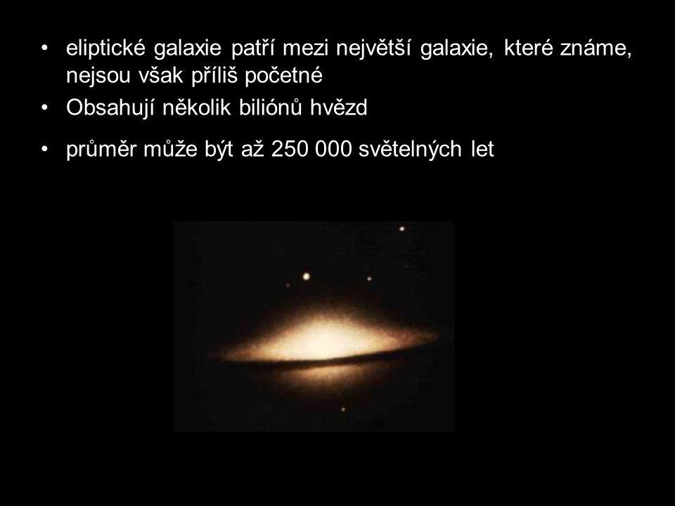 eliptické galaxie patří mezi největší galaxie, které známe, nejsou však příliš početné Obsahují několik biliónů hvězd průměr může být až 250 000 světe