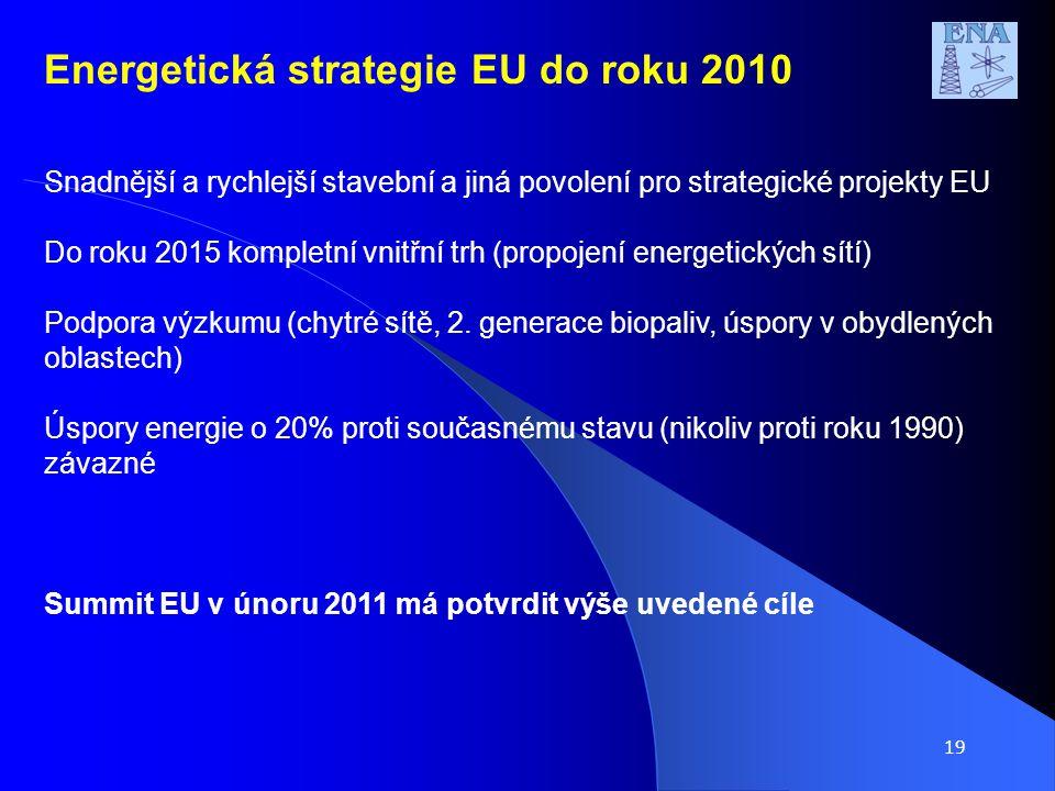 19 Snadnější a rychlejší stavební a jiná povolení pro strategické projekty EU Do roku 2015 kompletní vnitřní trh (propojení energetických sítí) Podpora výzkumu (chytré sítě, 2.