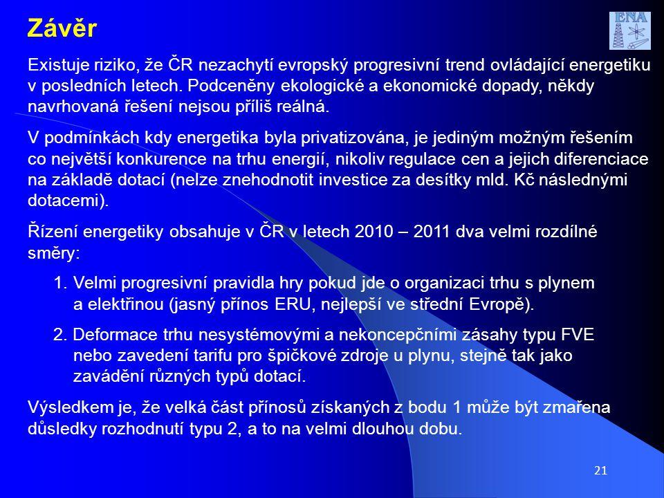 21 Závěr Existuje riziko, že ČR nezachytí evropský progresivní trend ovládající energetiku v posledních letech.