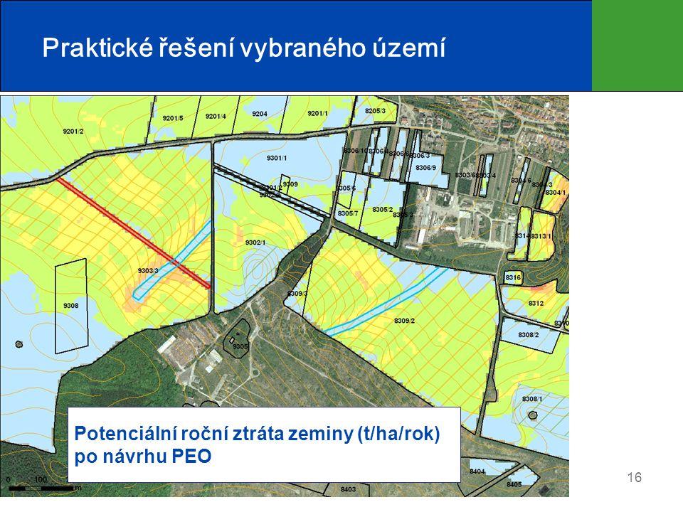 16 Praktické řešení vybraného území Potenciální roční ztráta zeminy (t/ha/rok) po návrhu PEO