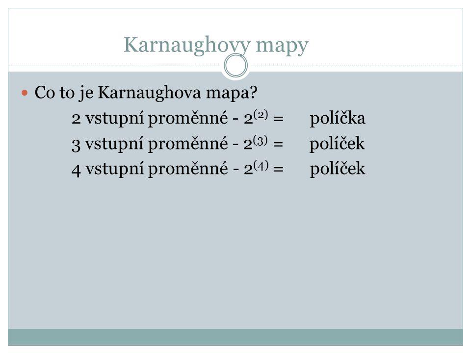 Karnaughovy mapy Co to je Karnaughova mapa? 2 vstupní proměnné - 2 (2) = políčka 3 vstupní proměnné - 2 (3) = políček 4 vstupní proměnné - 2 (4) = pol