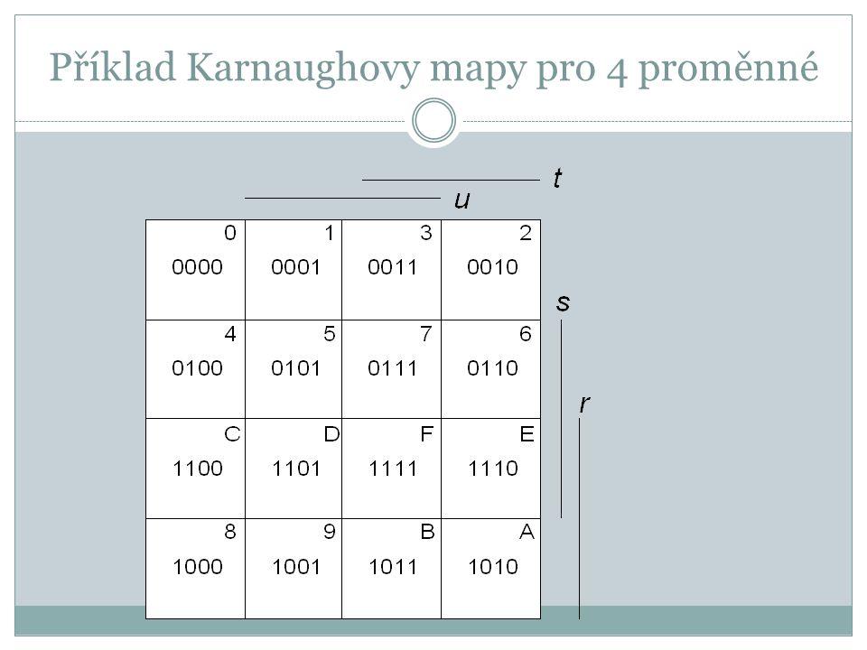 Příklad Karnaughovy mapy pro 4 proměnné