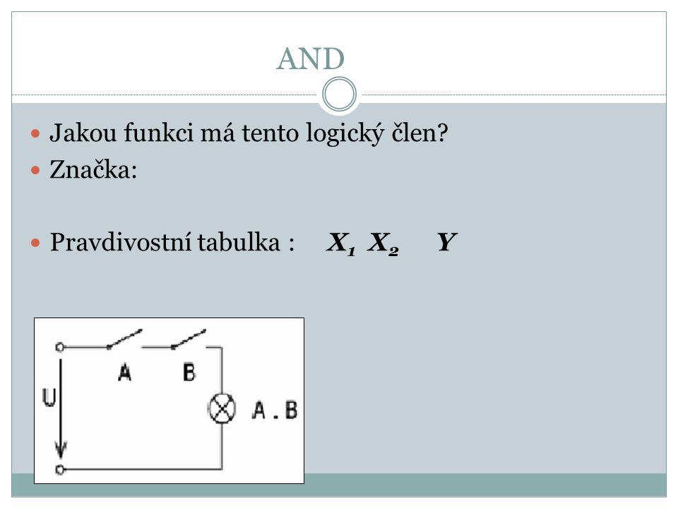 AND Jakou funkci má tento logický člen? Značka: Pravdivostní tabulka : X 1 X 2 Y