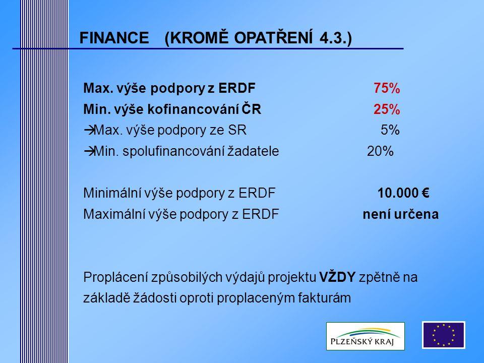 FINANCE (KROMĚ OPATŘENÍ 4.3.) Max. výše podpory z ERDF75% Min.