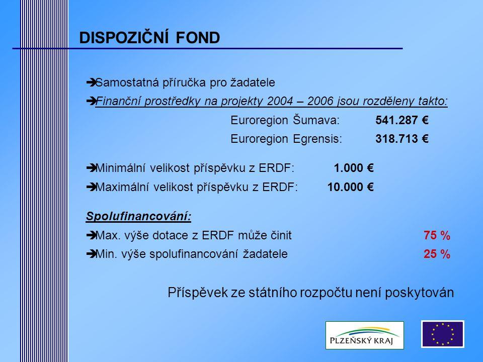 DISPOZIČNÍ FOND  Samostatná příručka pro žadatele  Finanční prostředky na projekty 2004 – 2006 jsou rozděleny takto: Euroregion Šumava: 541.287 € Euroregion Egrensis: 318.713 €  Minimální velikost příspěvku z ERDF: 1.000 €  Maximální velikost příspěvku z ERDF:10.000 € Spolufinancování:  Max.