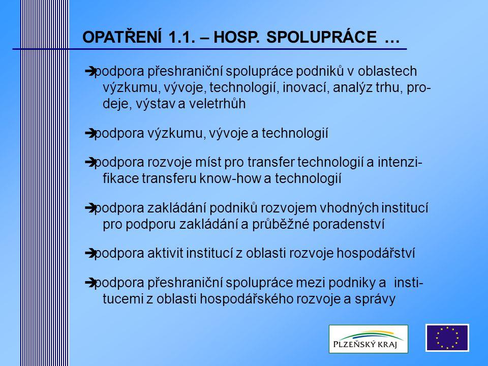 OPATŘENÍ 1.1. – HOSP.