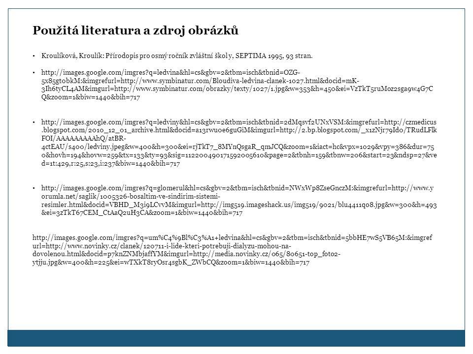 Použitá literatura a zdroj obrázků Kroulíková, Kroulík: Přírodopis pro osmý ročník zvláštní škol y, SEPTIMA 1995, 93 stran.