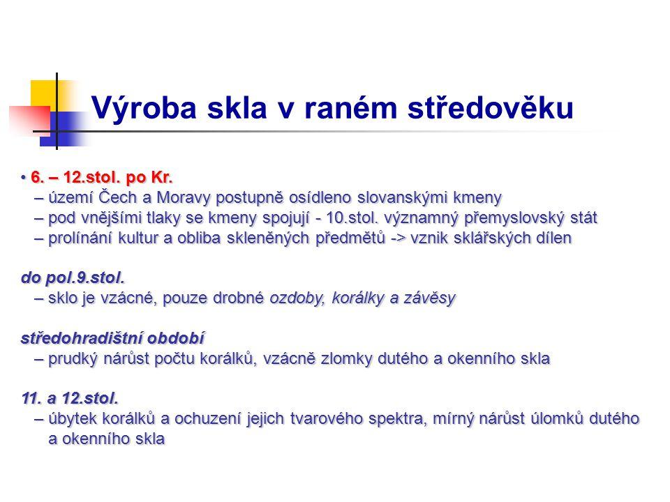 Výroba skla v raném středověku 6. – 12.stol. po Kr. 6. – 12.stol. po Kr. – území Čech a Moravy postupně osídleno slovanskými kmeny – území Čech a Mora