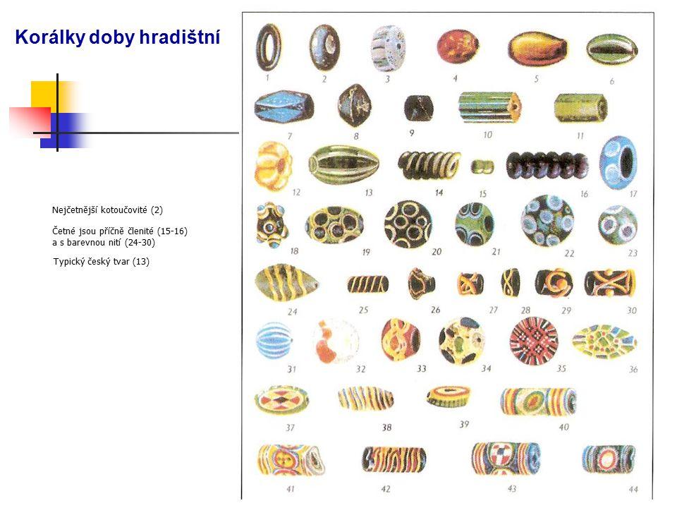 Korálky doby hradištní Nejčetnější kotoučovité (2) Četné jsou příčně členité (15-16) a s barevnou nití (24-30) Typický český tvar (13)
