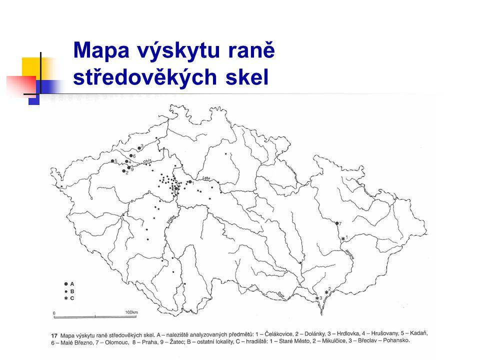 Mapa výskytu raně středověkých skel