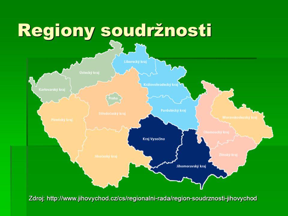 Regiony soudržnosti Zdroj: http://www.jihovychod.cz/cs/regionalni-rada/region-soudrznosti-jihovychod