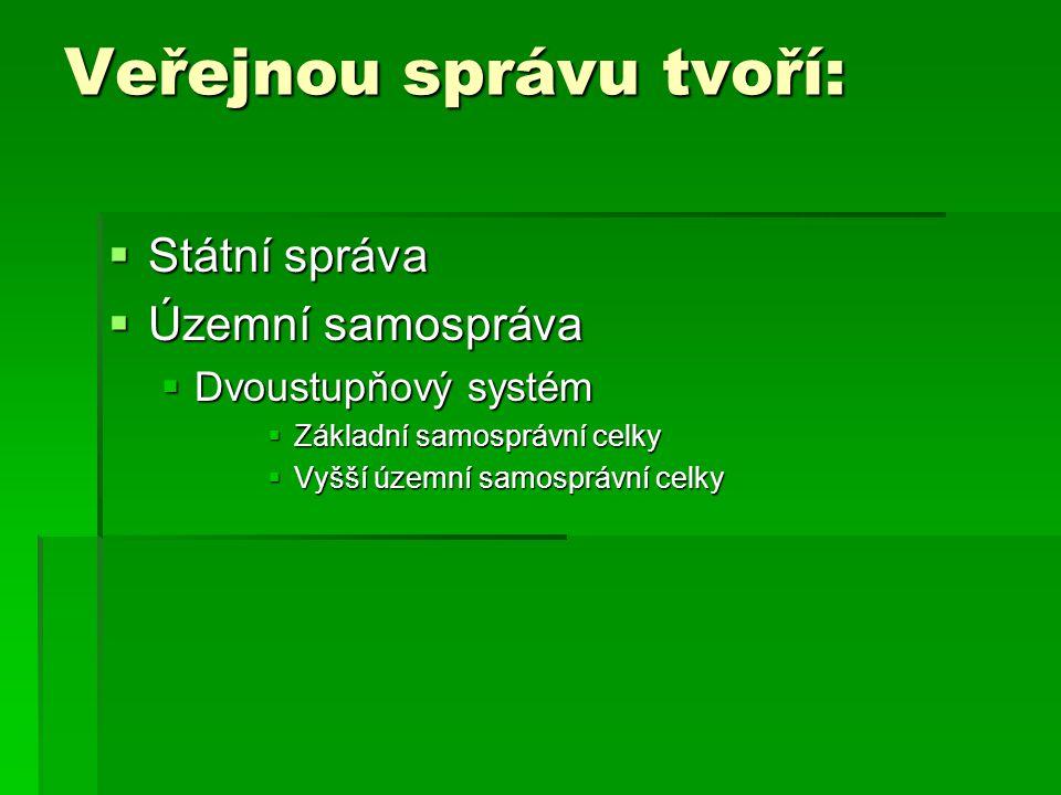 Veřejnou správu tvoří:  Státní správa  Územní samospráva  Dvoustupňový systém  Základní samosprávní celky  Vyšší územní samosprávní celky