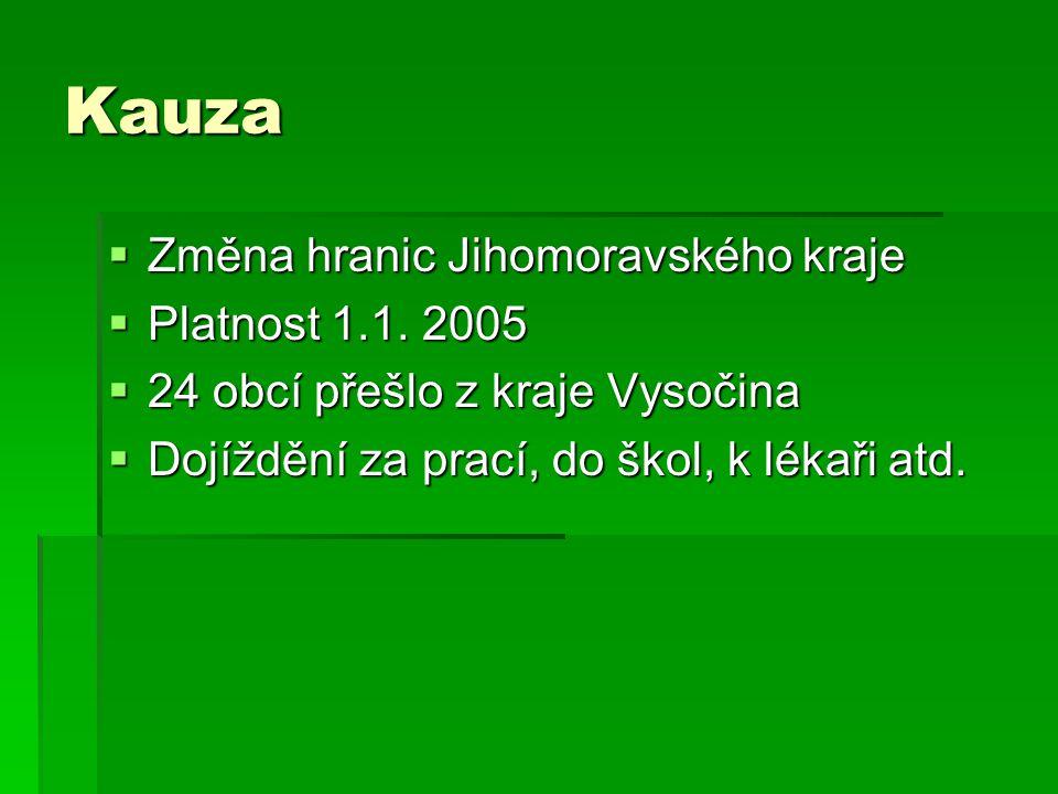 Kauza  Změna hranic Jihomoravského kraje  Platnost 1.1. 2005  24 obcí přešlo z kraje Vysočina  Dojíždění za prací, do škol, k lékaři atd.
