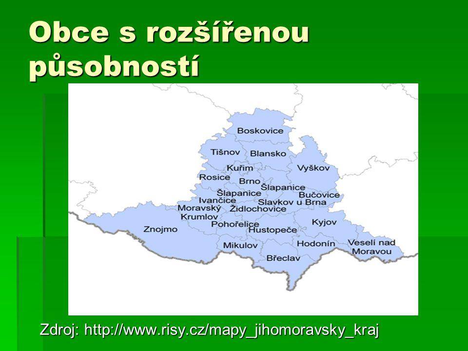 Obce s rozšířenou působností Zdroj: http://www.risy.cz/mapy_jihomoravsky_kraj