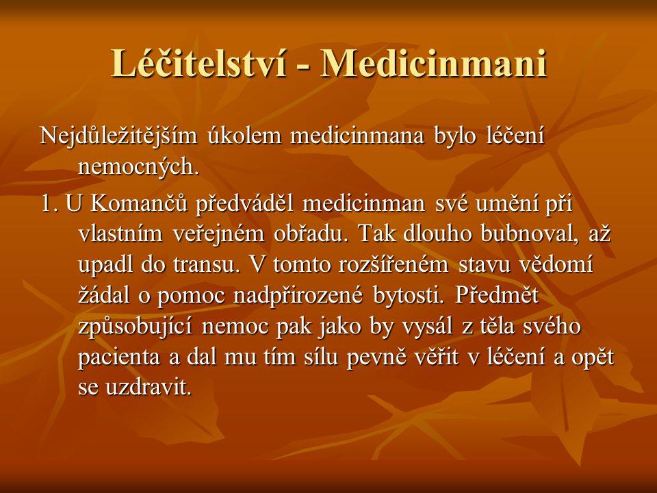 Léčitelství - Medicinmani Nejdůležitějším úkolem medicinmana bylo léčení nemocných.