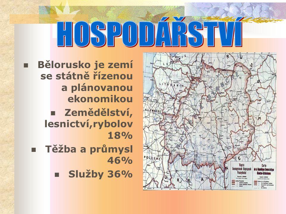 Bělorusko je zemí se státně řízenou a plánovanou ekonomikou Zemědělství, lesnictví,rybolov 18% Těžba a průmysl 46% Služby 36%