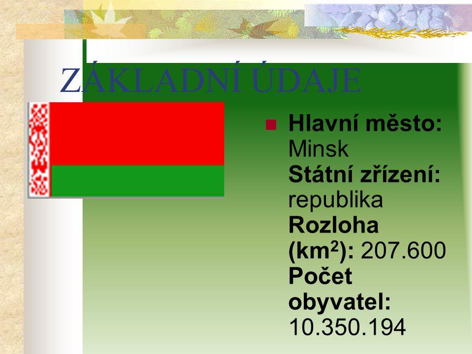 ZÁKLADNÍ ÚDAJE Hlavní město: Minsk Státní zřízení: republika Rozloha (km 2 ): 207.600 Počet obyvatel: 10.350.194