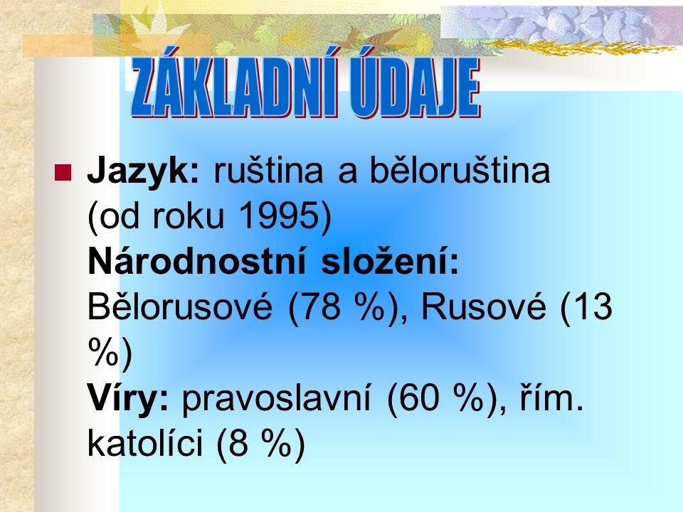 Jazyk: ruština a běloruština (od roku 1995) Národnostní složení: Bělorusové (78 %), Rusové (13 %) Víry: pravoslavní (60 %), řím. katolíci (8 %)