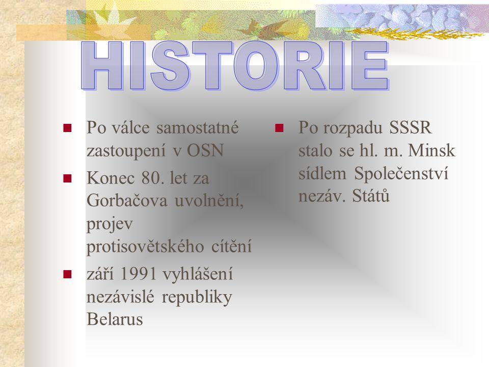 Po válce samostatné zastoupení v OSN Konec 80. let za Gorbačova uvolnění, projev protisovětského cítění září 1991 vyhlášení nezávislé republiky Belaru