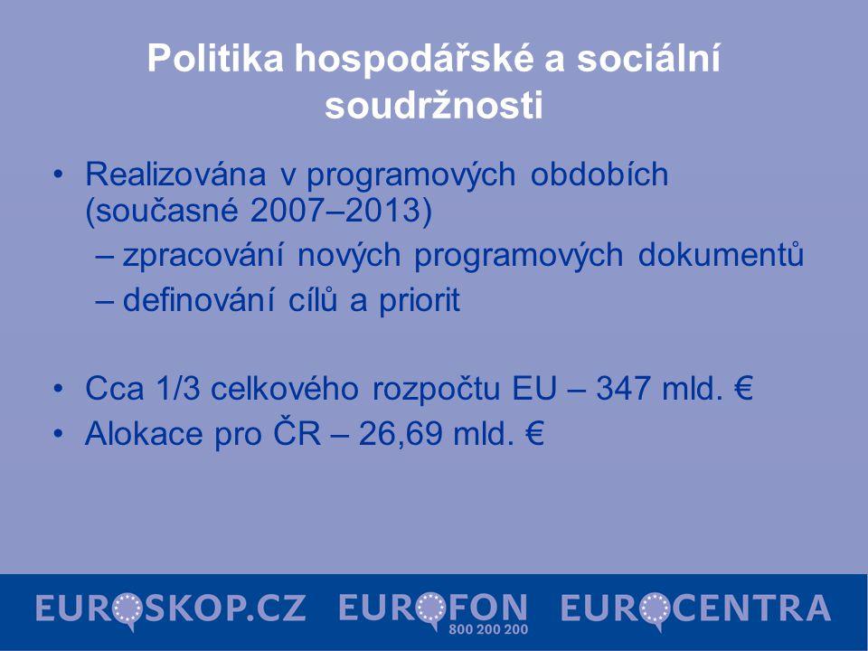 Politika hospodářské a sociální soudržnosti Realizována v programových obdobích (současné 2007–2013) –zpracování nových programových dokumentů –defino