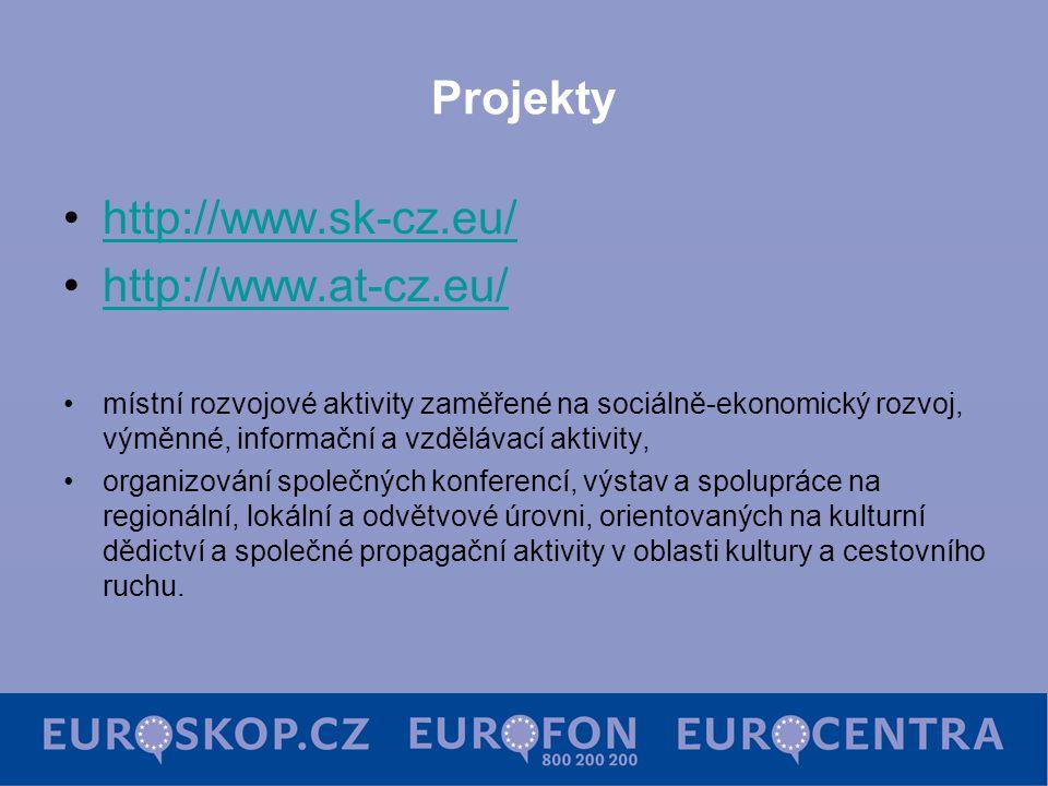 Projekty http://www.sk-cz.eu/ http://www.at-cz.eu/ místní rozvojové aktivity zaměřené na sociálně-ekonomický rozvoj, výměnné, informační a vzdělávací