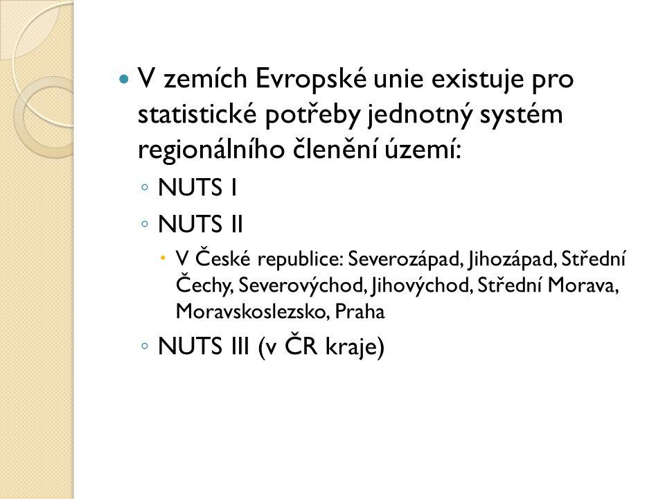 V zemích Evropské unie existuje pro statistické potřeby jednotný systém regionálního členění území: ◦ NUTS I ◦ NUTS II  V České republice: Severozápa