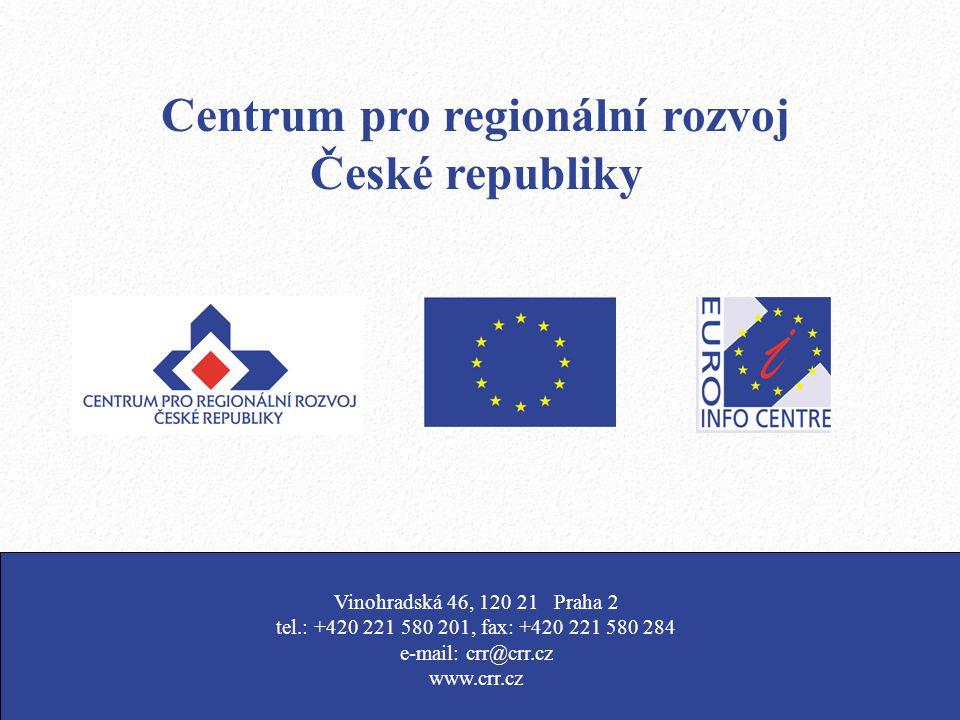 Centrum pro regionální rozvoj České republiky Vinohradská 46, 120 21 Praha 2 tel.: +420 221 580 201, fax: +420 221 580 284 e-mail: crr@crr.cz www.crr.