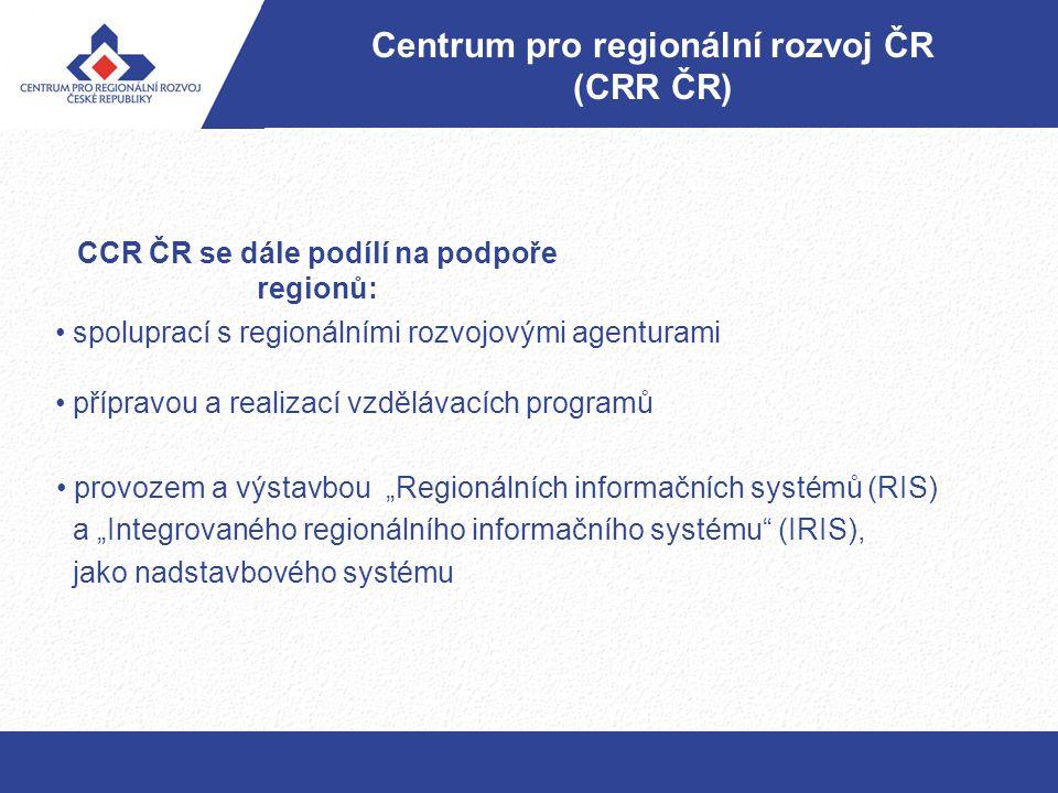 """CCR ČR se dále podílí na podpoře regionů: provozem a výstavbou """"Regionálních informačních systémů (RIS) a """"Integrovaného regionálního informačního sys"""