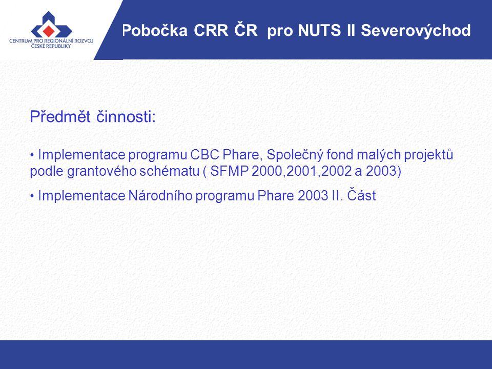 Pobočka CRR ČR pro NUTS II Severovýchod Předmět činnosti: Implementace programu CBC Phare, Společný fond malých projektů podle grantového schématu ( S