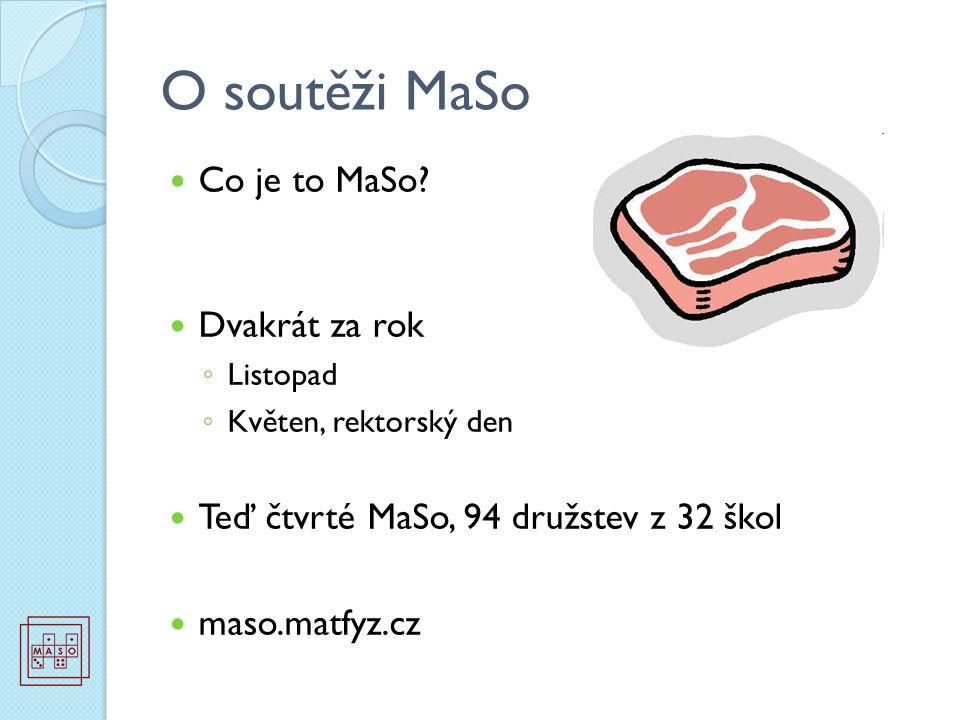 O soutěži MaSo Co je to MaSo? Dvakrát za rok ◦ Listopad ◦ Květen, rektorský den Teď čtvrté MaSo, 94 družstev z 32 škol maso.matfyz.cz