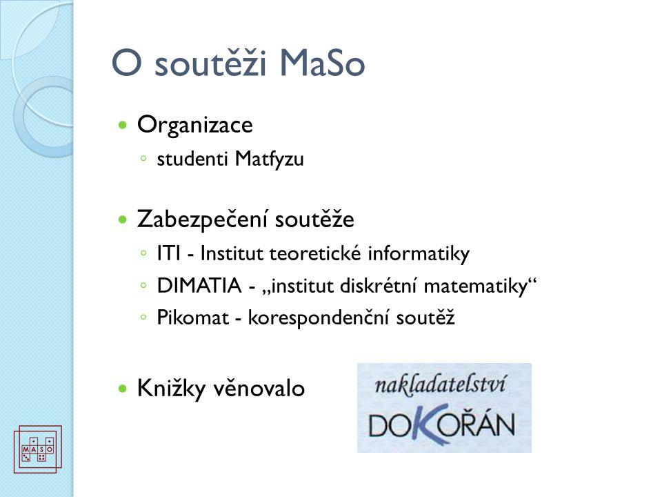 """O soutěži MaSo Organizace ◦ studenti Matfyzu Zabezpečení soutěže ◦ ITI - Institut teoretické informatiky ◦ DIMATIA - """"institut diskrétní matematiky"""" ◦"""