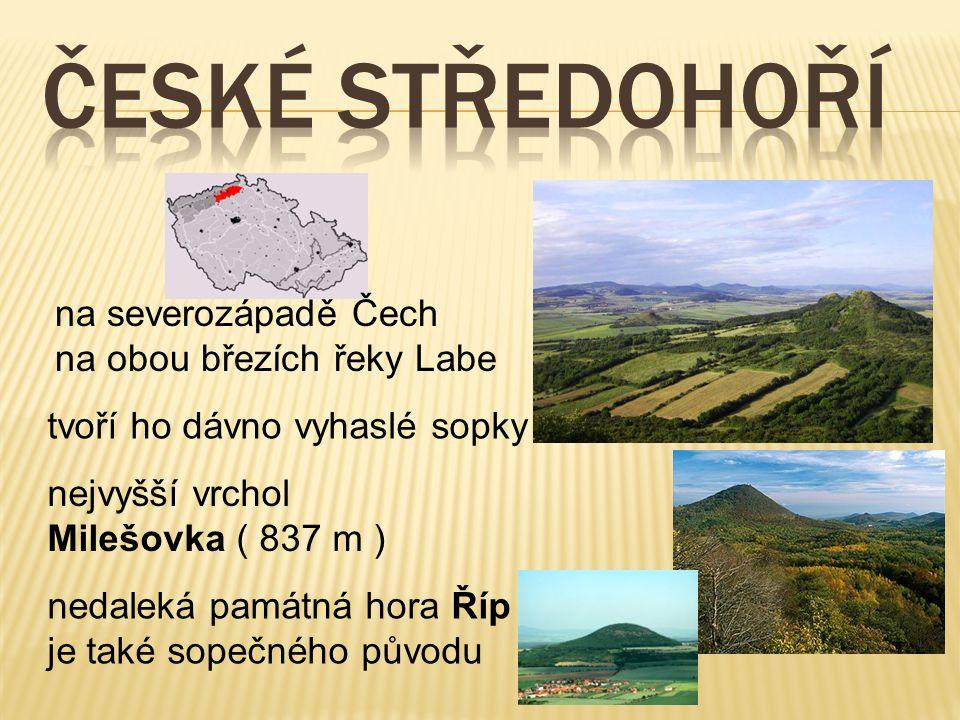 na severozápadě Čech na obou březích řeky Labe tvoří ho dávno vyhaslé sopky nejvyšší vrchol Milešovka ( 837 m ) nedaleká památná hora Říp je také sope