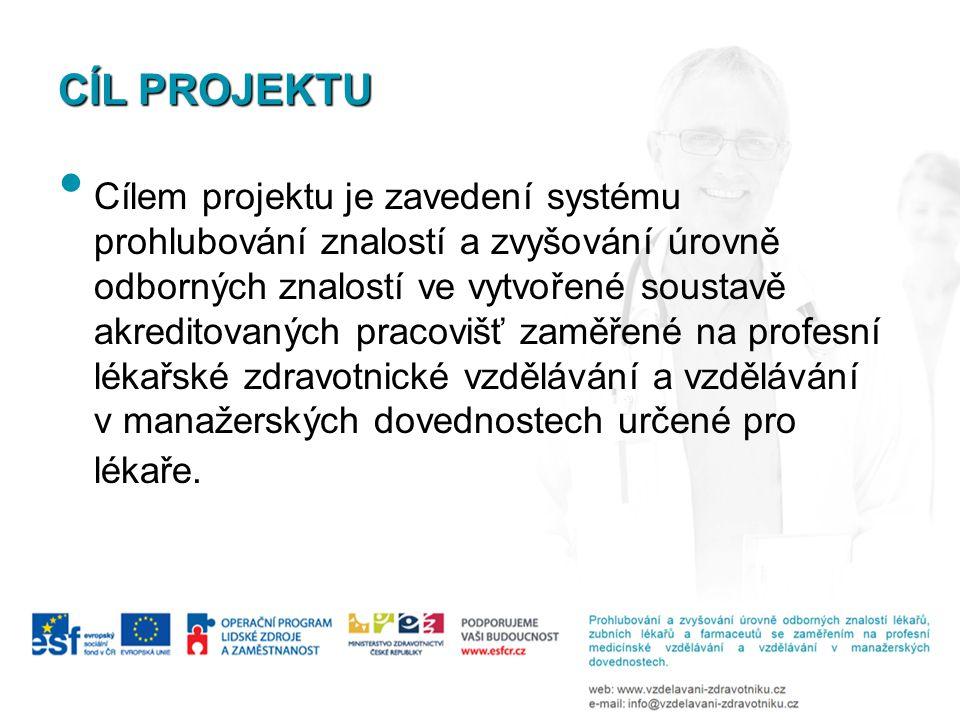 CÍL PROJEKTU Cílem projektu je zavedení systému prohlubování znalostí a zvyšování úrovně odborných znalostí ve vytvořené soustavě akreditovaných praco